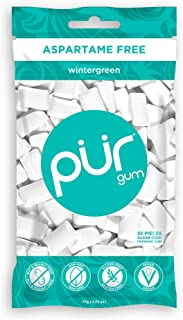The PUR Company  | Sugar-Free + Aspartame-Free Chewing Gum  | 100% Xylitol  | Wintergreen | Vegan + non GMO  | 55 Pieces per Bag