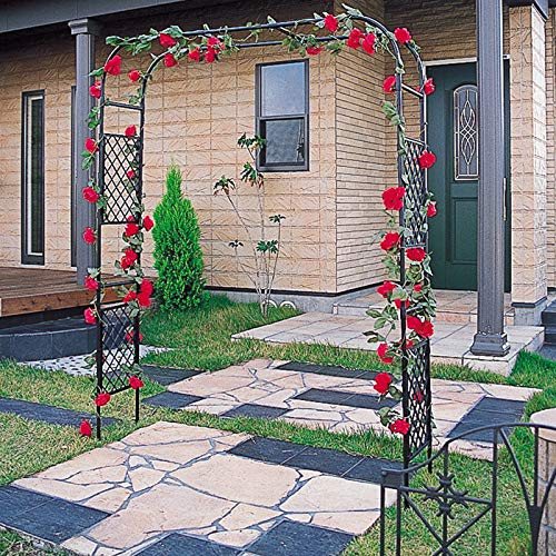 Arcos De Jardín De 2.1M Arcos De Metal Expandibles Soporte De Flores Para Patio Al Aire Libre Arcos Simples Negros Para Plantas Trepadoras De Rosas, Arcos De Decoración De Bodas Con Ancho Ajustable