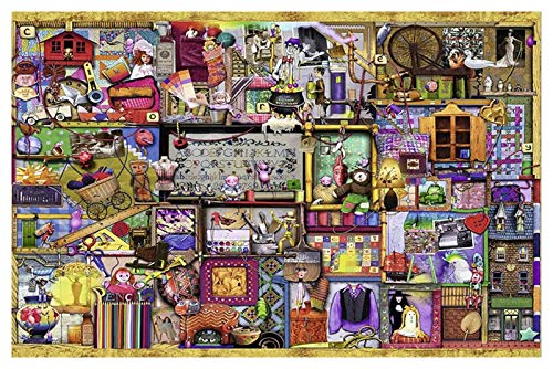 3D-Puzzles für Kinder Alter 8-10, Puzzles 1000 Stück, Weihnachtsrätsel für Kinder, Rätsel für Teenager, 3D-Puzzles, Blue Fee, 50x75cm (Farbe : Colorful Shelves)