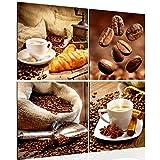Runa Art Bilder Küche Kaffee Wandbild Vlies - Leinwand Bild XXL Format Wandbilder Wohnzimmer Wohnung Deko Kunstdrucke 60 x 60 cm Braun 4 Teilig - Made in Germany - Fertig Zum Aufhängen 504144a