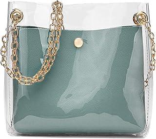 Wultia - Women Fashion Solid Shoulder Transparent Bag Messenger Bag Crossbody Bag Phone Coin Bag Sac A Main Femme #T09 Blue