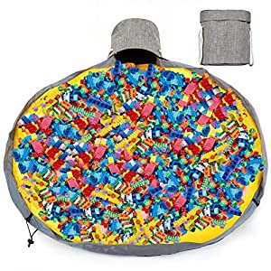 Toy Storage Organizer Baskets with Lids and Removable Play Mat, Drawstring Collapsible Canvas Washable Toy Quick Storage Bag with Handles, Toy Buckets for Kids Playroom Organization