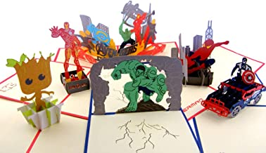 Super Heroes Pop Up Greeting Cards,Handmade Boxed 3D Card-Spiderman,Captain,Iron Man,Hulk,Avengers,Groot for Children on All Occasion(Christmas,New year,Birthday)
