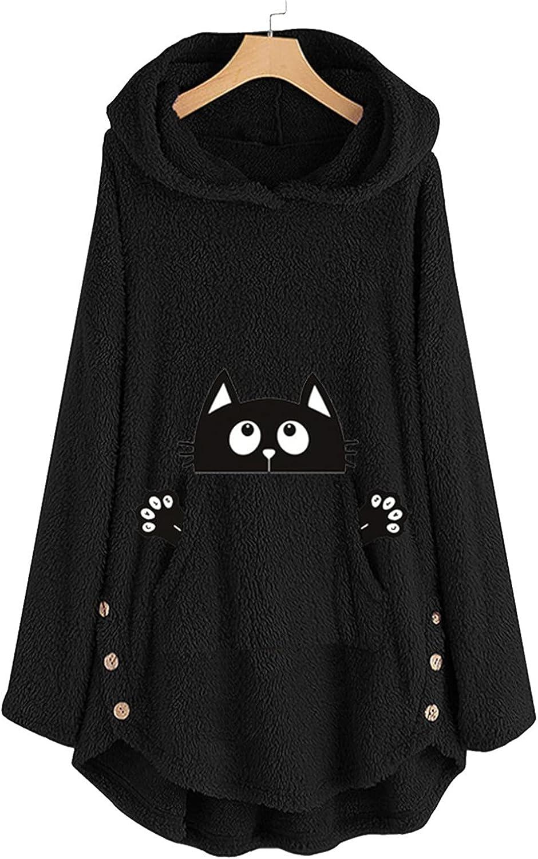 Womens Cute Hoodies Cat Printed Kangaroo Pocket Sweater Fuzzy Fleece Pullover Sweatshirt