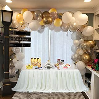 Balloon Arch & Garland Kit   100 Pearl White, Chrome Gold Confetti & Silver   Balloon Arch & Garland Strip Tool   Holiday, Wedding,Baby Shower,Birthday,Graduation Party Decorations