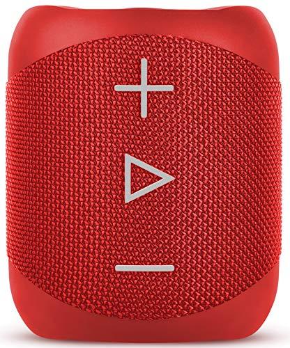 Sharp GX-BT180 (RD) Stereo-Bluetooth-Lautsprecher - kräftiger Bass - hochdynamischer Klangbereich / 10 Stunden Spielzeit /Staub-Spritzwassergeschütz/ Mikrofon für Telefonate, Google & Siri - Rot