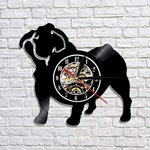 BFMBCHDJ Perro francés Silueta LED Iluminado Arte Decorativo Reloj Encantador Cachorro Vinilo Reloj de Pared Animal vivero Pared Arte decoración sin LED 12 Pulgadas