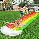 AMENON 14 FT Water Slip Slides for Kids, Rainbow Lawn Water Slides Splash Play Center with Inflatable Crash Pad and Splash Sprinkler Garden Backyard Swimming Pool Toys Outdoor Summer Party Favors