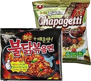 (9 Packs):Samyang Buldak Bokkeum Spicy Chicken Ramen (5 Packs) + Nongshim Chapagetti Chajang noodle ramyun (4 Packs) Combo