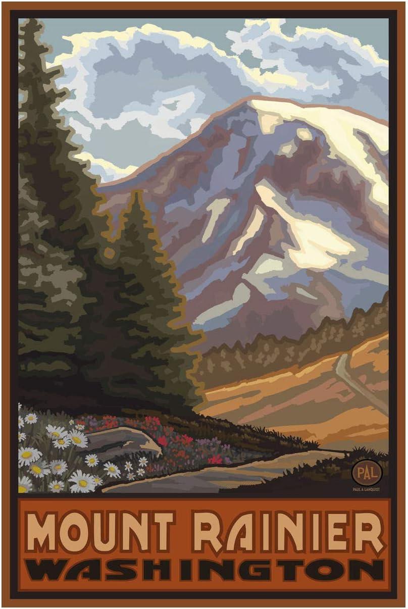 Mount Rainier Washington Springtime Mountains Giclee Art Print Poster from Travel Artwork by Artist Paul A. Lanquist 12