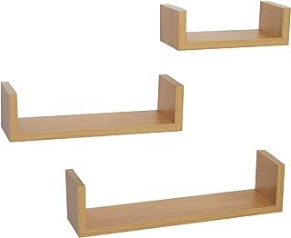 Home 3 Display U Shape Floating Wall Shelves: Oak