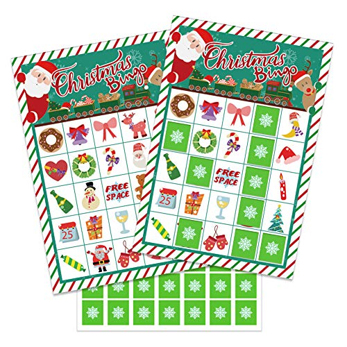WaaHome Christmas Bingo Game for Kids Families Large Group, 26 Bingo Cards for Christmas Party Games School Classroom Activities Christmas Crafts Party Favors Supplies
