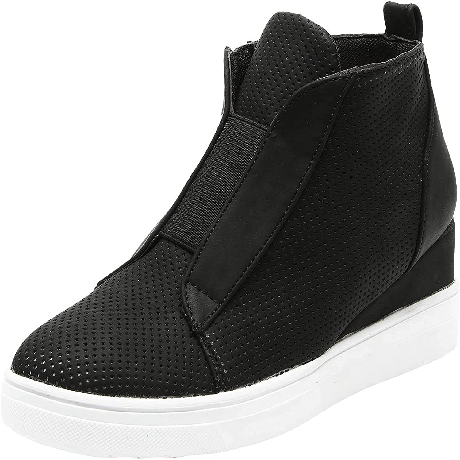 USYFAKGH Wedge Sneakers for Women Hidden Wedges Side Zipper Suede Platform Ankle Booties Fashion Casual High Top Sneakers