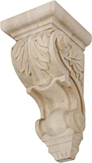 American Pro Decor 10 in. x 4-3/4 in. x 5-3/8 in. Unfinished Small Hand Carved North American Solid Hard Maple Acanthus Leaf Wood Corbel