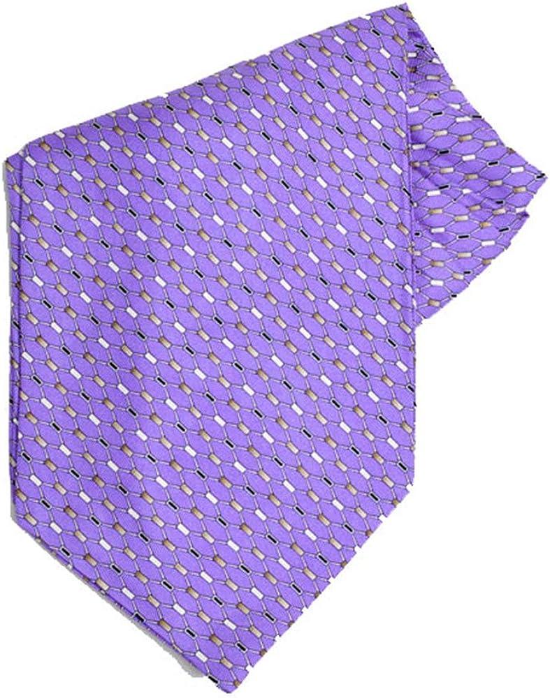 Jacob Alexander Men's Silk Geometric Pattern Cravat Ascot Neck Tie - Purple