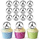 Michael Jordan Baloncesto 24 decoraciones comestibles personalizables para magdalenas, decoración para tartas de cumpleaños, círculos precortados fáciles