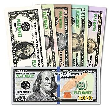 CLEXAVER Educational Play Money Set - Full Print 2 Sided - Bills of 1 5 10 20 50 100 for Monopoly Photo Pranks