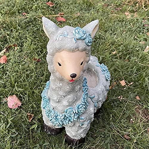 Estatua de jardín Adornos de resina impermeables para exteriores Adornos de jardín de alpaca para exteriores, Adornos de flores para macetas de resina impermeables, Escultura de jardín Estatua
