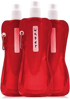 Lots de 6 bouteilles d'eau pliables - 47,3 cl - Sans BPA - Avec mousqueton pour voyage - Rouge