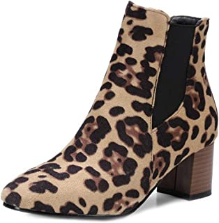 Women's Leopard Suede Ankle Boots Square Toe Elastic Stacked Block Mid Heel Dressy Short Booties