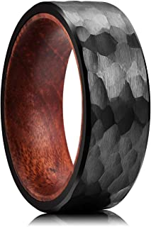 King Will Nature 8mm Tungsten Carbide Ring for Men Hammered Style Wood Inlay Wedding Band Black/Rose Gold/Silver