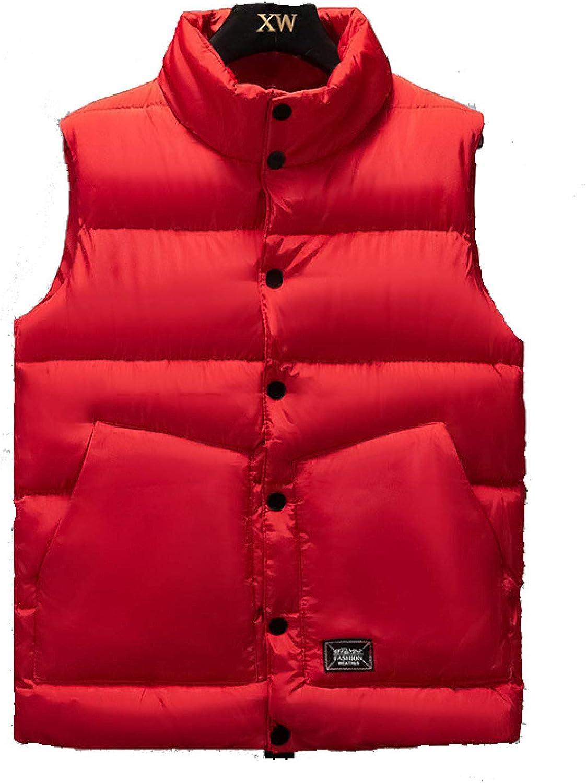 Men's Solid Down Vest Warm Lightweight Sleeveless Jacket Puffer High Neck Waistcoat Outwear for Work Travel