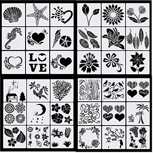 Haosell 36 Stück Zeichenschablonen Malschablonen Kinder Schablonen Set aus Kunststoff Journal Zubehör Stencil Schablonen Blumen Blätter Ozean Tier Natur für Scrapbooking Fotoalbum DIY Geschenkkarten