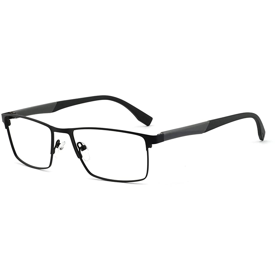 OCCI CHIARI Mens Rectangle Eyewear Full-Rim Metal Prescription Clear Optical Glasses