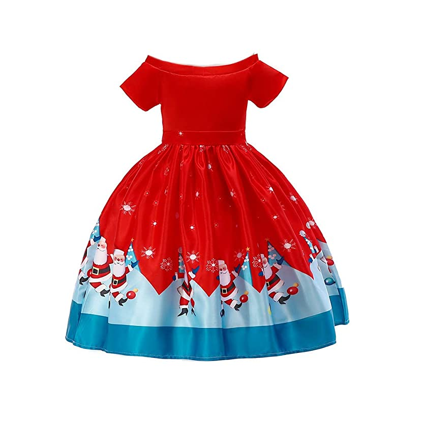xinYxzR Girl's Dress,Kids Girls Christmas Santa Claus Snow Vintage Skater Dress Party Pageant Clothes Red 130cm