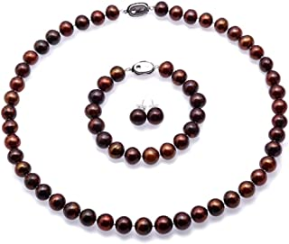 JYX Pearl Necklace Set 9-10mm Flat Round Brown Freshwater Cultured Pearl Necklace Bracelet and Earrings Set