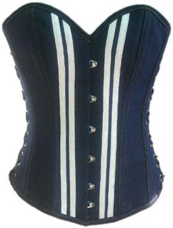 bluee Denim White Strips Goth Steampunk Basque Waist Training Overbust Corset Top