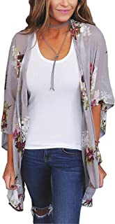 Women's Floral Print Kimonos Loose Half Sleeve Shawl Chiffon Cardigan Blouses Casual Beach Cover Ups