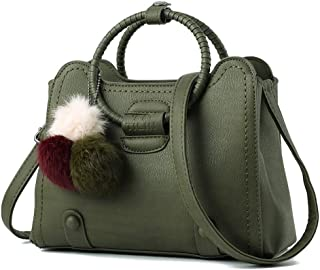 Durable Casual Business Lady Bag Hair Ball Bracelet Messenger Crossbody Simple Backpack (Color : Green)
