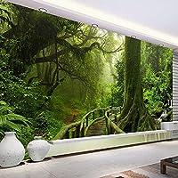 カスタム3D壁紙緑の大きな木自然風景森写真壁画壁紙寝室用リビングルームソファテレビ背景アート-200x140cm