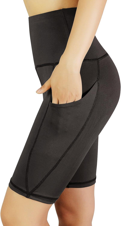 REETOYO Women's High Waist Tummy Control Workout Running 4 Way Stretch Yoga Shorts Side Pockets