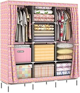 Shirleyle-Hocu Portable Closet Organizer Closet Wardrobe Portable Clothes Storage Organizer with Metal Shelves and Dustproof Non-Woven Floral Fabric Easy to Assemble (Style : Apple)