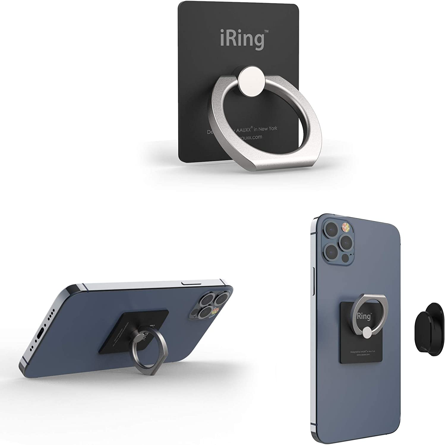 iRing Original - Include Hook Mount for Wall or Car Cradle. AAUXX Cell Phone Ring Grip Finger Holder, Mobile Stand, Kickstand, iPhone, Android, Smartphones, Tablets.(Matt Black)
