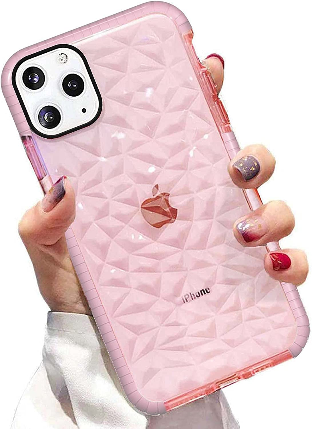 Superyong for iPhone 11 Pro MAX Case,Crystal Clear Slim 3D Diamond Glitter Pattern Cute Soft TPU Anti-Scratch Shockproof Protective Cover for Women Girls Men Boys with iPhone 11 Pro MAX 6.5 Inch-Pink