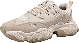 AUCDK Men Platform Sneakers Casual Style Leather and Mesh Male Trainers with Chunky Sole Great for Outdoor Exercise
