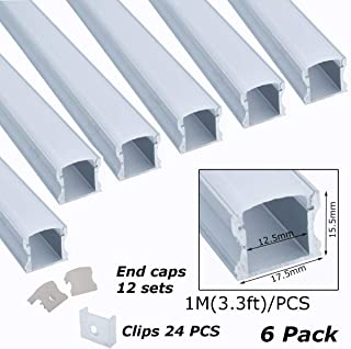 Litever 6-Pack Aluminum Channels Deep Square Trimless 1 Meter/3.3 FT Aluminum Channel for 12mm Width 5050 5730 2835 LED Strip Mounting Frosted Diffuser with End Caps Mounting Clips LL-007-A-(6-Pack)