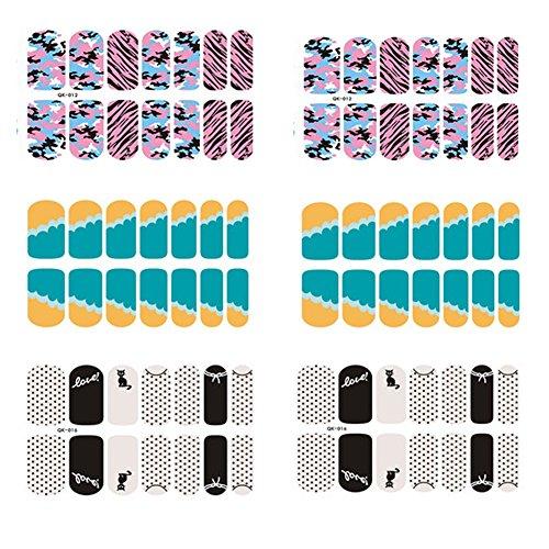 [6 Sheet]Nail Art Sticker Nail Decal Full Nail Wrap Nail Art Tattoo-Pattern B