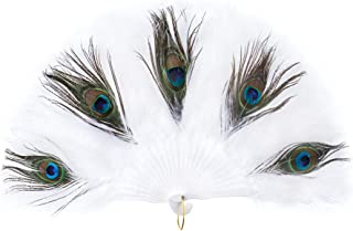 Ziyoot 1920s Folding Handheld Feather Fan Marabou Feather Fans with Peacock Flapper Costume Accessories for Dance Halloween Party Decoration (Peacock White)