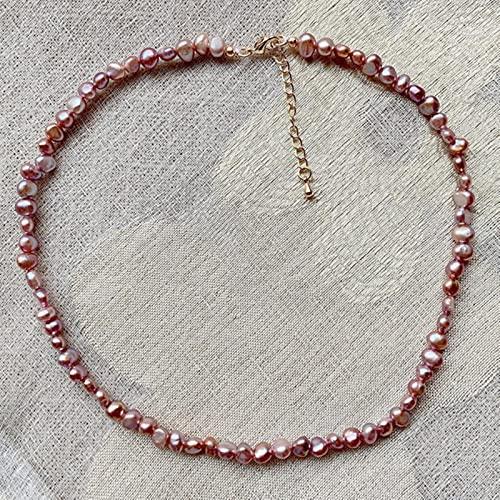 SONGK 4-5mm pequeñas Pepitas Irregulares Joyas de Perlas barrocas Collar Corto Gargantilla de Perlas de Agua Dulce Naturales Reales para Mujeres