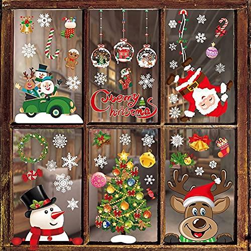 BBLIKE Fotos de la ventana de la Navidad 8 hojas de nieve copos de nieve Imágenes de la ventana autoadhesiva pegatinas de la ventana de la Navidad Decoración de Navidad Reutilizable (color)