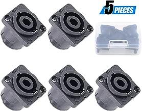 Glarks 5 Pack 4 Pole Square (Rectangle) Female Panel Mount Socket Twist Lock Speaker Compatible with Neutrik Speakon NA4LJ, NA4LJX, NL4MP, NL4MPR, NL4FC, NL4FX, NL4 & NL2 Series, NL2FC