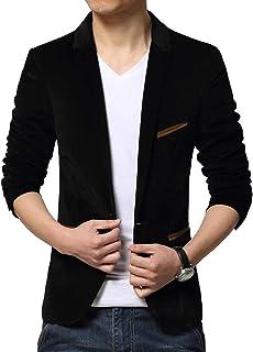Men's Slim Fit Long Sleeve Blazer Suits Solid Corduroy Coat Formal Dinner Suits Jacket Size M-3XL