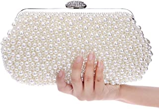 Sturdy Women's Pearl Handbag Evening Clutch Purse Ladies Banquet Dress Wdding Party Handbag. Large Capacity (Color : Creamy-White)