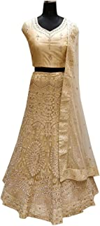 SHRI BALAJI 8981 Abaya Indian hit Latest Golden Net Lehenga Choli Heavy Embroidery Work Ethnic Traditional Party wedding Wear women Girls Semi stitched