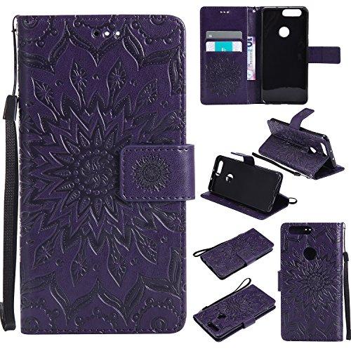 Hülle für Huawei Honor 8 Hülle Leder,[Kartenfach & Standfunktion] Flip Case Lederhülle Schutzhülle für Huawei Honor 8 - EYKT030926 Violett