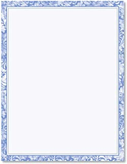 Blue Alluring Border Letter Papers - Set of 25 spring stationery papers are 8 1/2